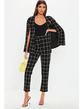 Black Grid Check Cigarette Trousers by Missguided