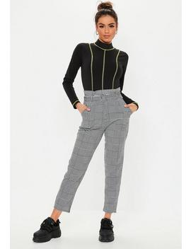 Black Dog Tooth Belted Cigarette Trousers by Missguided