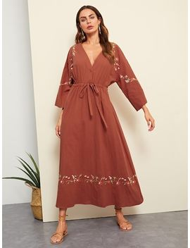 Flower Embroidered Plunging Neck Drawstring Waist Dress by Shein