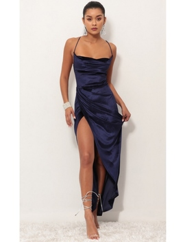 Velvet Luxe Maxi Dress In Royal Blue by Lucy In The Sky