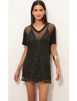 Shimmer Shift Dress In Sparkling Gold by Lucy In The Sky