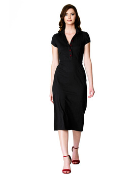 Cotton Knit Contrast Button Sheath Dress by Eshakti