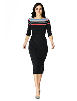 Stripe Trim Cotton Knit Sheath Dress by Eshakti