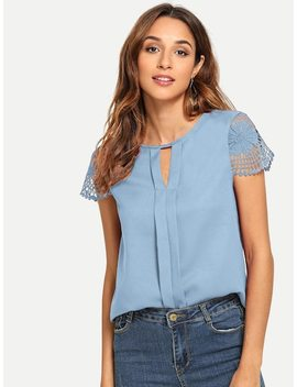 V Cut Neck Lace Sleeve Keyhole Back Top by Shein