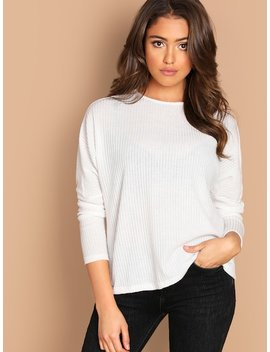 Solid Rib Knit Tee by Shein