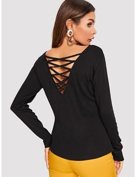 Criss Cross Back Solid Tee by Shein