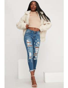 Low Rise Distressed Cropped Skinny Jean by Urban Planet