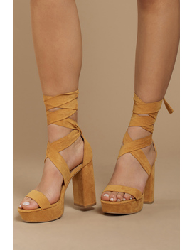 Alice Mustard Suede Ankle Tie Heels by Tobi
