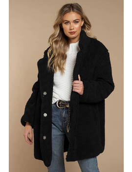 Swiss Alps Black Long Line Teddy Coat by Tobi