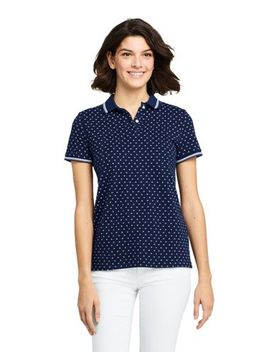Women's Print Mesh Cotton Polo Shirt Short Sleeve by Lands' End