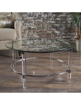 Lynn Modern Round Tempered Glass Coffee Table With Acrylic And Iron Accents by Gdf Studio