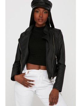 Faux Leather Asymmetrical Moto Jacket by Urban Planet