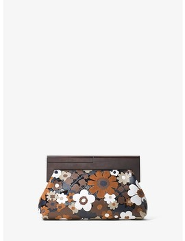 Stanwyck Floral Intarsia Leather Clutch by Michael Kors Collection