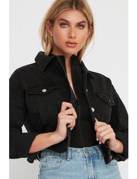 Classic Black Cropped Denim Jacket by Urban Planet