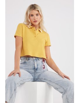 Contrast Collar Boxy Cropped Polo T Shirt by Urban Planet