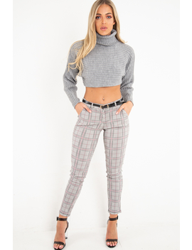 Black Red Check Belted Skinny Trousers   Jayani by Rebellious Fashion