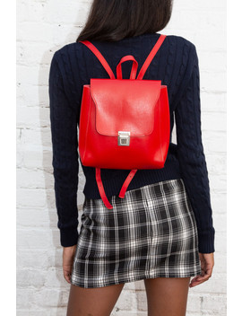 Silver Buckle Red Backpack by Brandy Melville