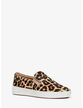 Keaton Leopard Calf Hair Slip On Sneaker by Michael Michael Kors