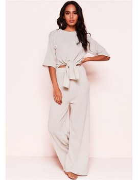 Lisa Beige Knit Ribbed Tie Co Ord Set by Missy Empire
