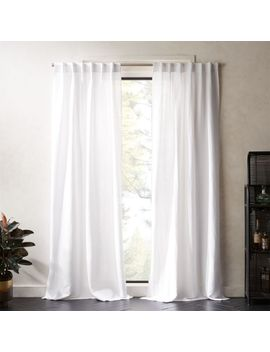 Weekendr White Chambray Curtain Panel by Crate&Barrel