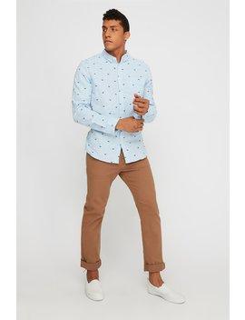 Linen Print Button Up Long Sleeve Shirt by Urban Planet