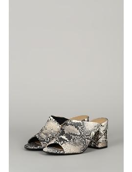 Snake Asymmetric Open Toe Chunky Mule Heel by Urbanog