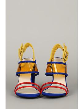 Open Toe Clear Pvc Slingback Chunky Heel by Urbanog