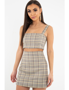 Beige Checked Crop Top   Bianka by Rebellious Fashion