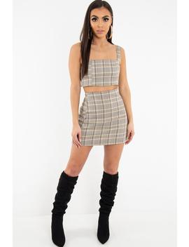 Beige Checked Bodycon Mini Skirt   Adaya by Rebellious Fashion