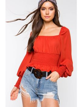 Smocked Square Neck Blouse by A'gaci