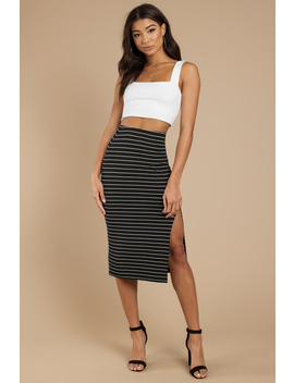 No Questions Black Striped Midi Skirt by Tobi