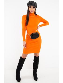 Orange Rib Roll Neck Midi Dress   Ellerie by Rebellious Fashion