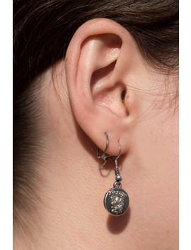 Silver Firenze Coin Earrings by Brandy Melville