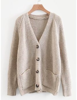 Solid Button Front Raglan Sleeve Cardigan by Sheinside