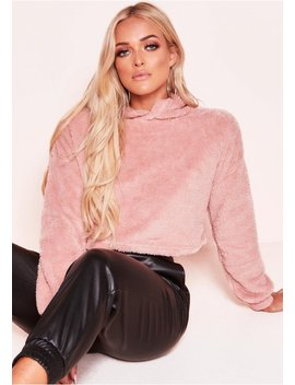 Gina Pink Teddy Faux Fur Hooded Cropped Jumper by Missy Empire