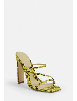 Yellow Snake Multi Strap Mules by Missguided