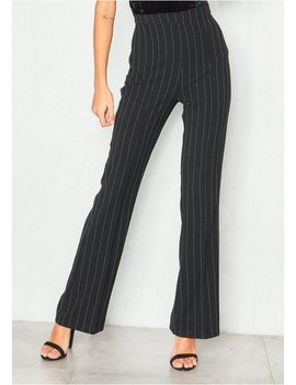 Lara Black Pinstripe High Waist Trousers by Missy Empire