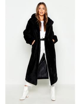 Longline Faux Fur Teddy Coat by Boohoo