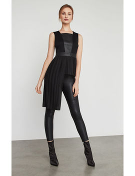 Pleather Trimmed Asymmetrical Top by Bcbgmaxazria