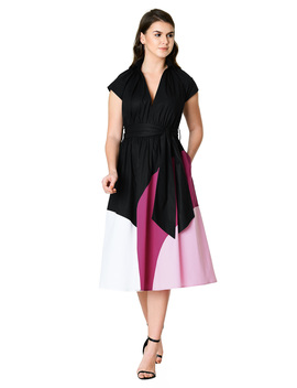 Colorblock Cotton Poplin Midi Dress by Eshakti