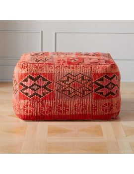 Moroccan Pink/Red Vintage Pouf/Floor Cushion by Crate&Barrel