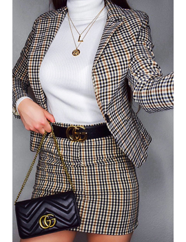 Brown Check O Ring Belted Mini Skirt   Alfa by Rebellious Fashion