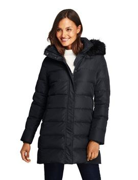 Women's Petite Winter Long Down Coat With Faux Fur Hood by Lands' End