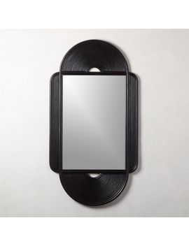 Iris Black Large Rattan Mirror by Crate&Barrel