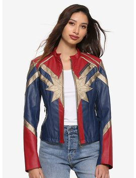 Her Universe Marvel Captain Marvel Star Girls Faux Leather Jacket by Hot Topic