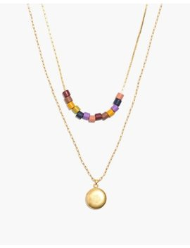 Rainbow Beaded Locket Necklace Set by Madewell