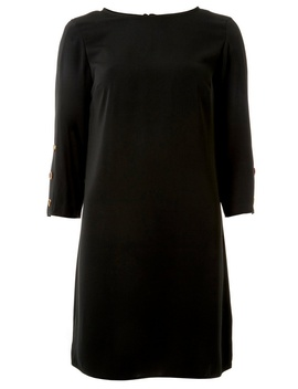 Black Horn Button Shift Dress by Dorothy Perkins