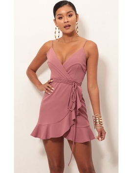Carisa Ruffle Dress In Mauve by Lucy In The Sky