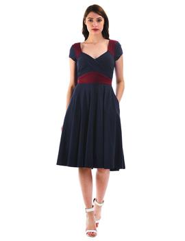 Colorblock Cotton Knit Sweetheart Empire Dress by Eshakti