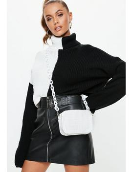 White Chunky Plastic Chain Detail Croc Bag by Missguided